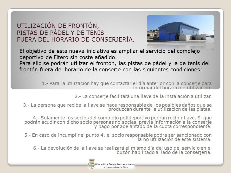 FUERA DE HORARIO CONSERJERIA con tenis